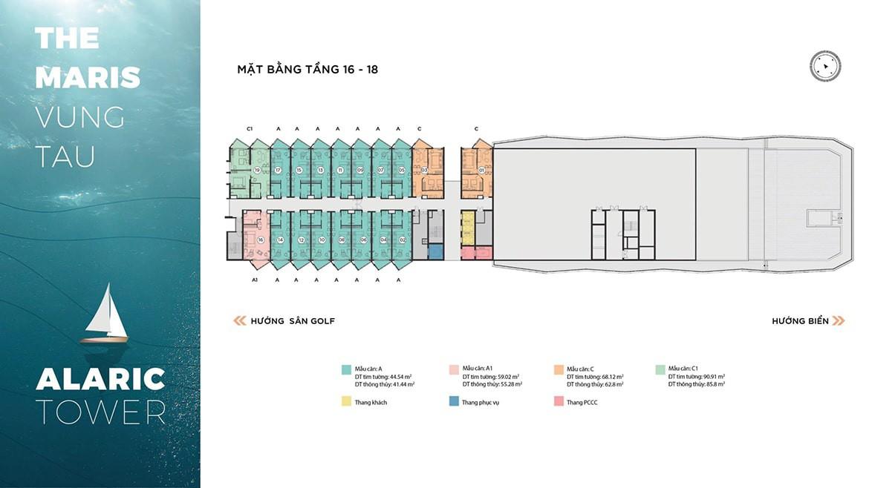 Mặt bằng tầng 16 - 18 căn hộ ALARIC TOWER