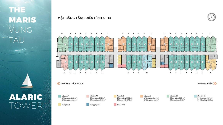 Mặt bằng tầng điển hình 5 - 14 căn hộ ALARIC TOWER