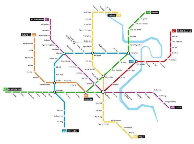 Sơ đồ cập nhật các tuyến metro