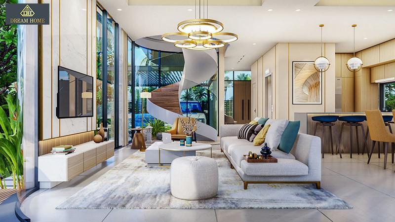 Mẫu nội thất phòng khách Detachech Villa -Venezia Beach